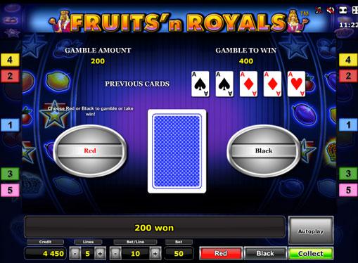 Διπλασιασμός παιχνιδιού Κουλοχέρηδες Fruits'n Royals Deluxe